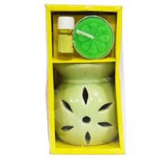 GREEN POT CERAMIC TEA LIGHT AROMA BURNER